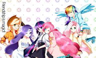 Applejack Fluttershy Humanization My_Little_Pony Pinkie_Pie Rainbow_Dash Twilight_Sparkle rarity // 1300x780 // 137.9KB