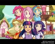 Applejack Fluttershy Humanization My_Little_Pony Pinkie_Pie Rainbow_Dash Twilight_Sparkle rarity // 1000x800 // 108.3KB