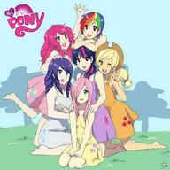 Applejack Fluttershy Humanization My_Little_Pony Pinkie_Pie Rainbow_Dash Twilight_Sparkle rarity // 894x894 // 81.5KB